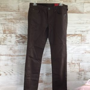 Christina V Leather Look Brown Jeans SZ 4